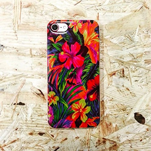 Funda Tpu Flores Tropicales Gel silicona textura flores vegetacion + Regalo protector...