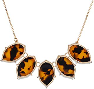CEALXHENY Women's Bib Chunky Necklace Acrylic Pendant Necklaces Statement Resin Choker Necklace for Girls