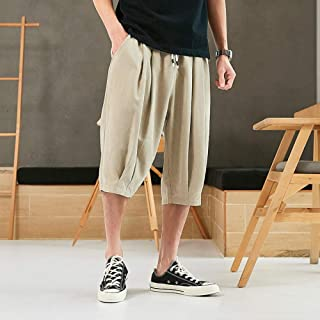 B/H Men's Solid Swim Trunks,Plus fat plus size shorts, elastic summer cropped pants-Khaki_XL, Surfing, Running, Gym, Worko...