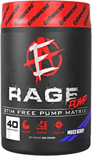 Enhanced Labs - Rage Pump - Stimulant-Free Pre Workout Powder for Increased Energy, Improved Focus & Power Production - Mi...