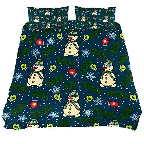 267 JlOn Microfiber Duvet Cover Sets 3 Pieces (2 Pillowcase,1 Duvet Cover) Christmas Snowman Decorative Bedroom Double