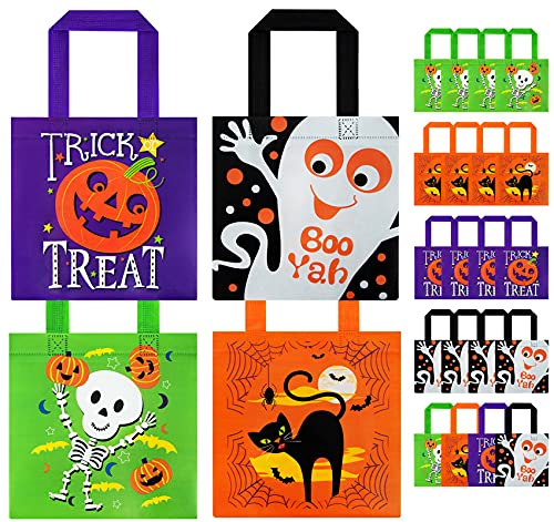 20 Packs Halloween Non-Woven Bags for Kids, Reusable Trick or Treat Goodie Candy Bags, Tote Gift Bags with Handles for Halloween Party Favors/Games