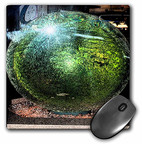3dRose LLC mp_44056_1 Mauspad, 20 x 20 x 0,6 cm, grüner Ball in einem Aquarium, reflektierendes Licht