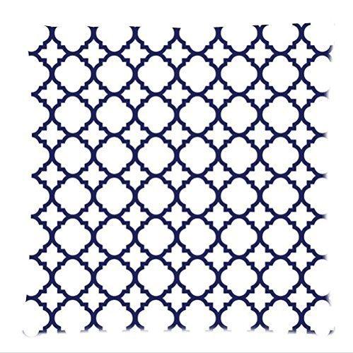 Gepersonaliseerde klassieke marineblauwe en witte Quatrefoil patroon zachte satijnen bolster case kussensloop, Rits kussenslopen 18