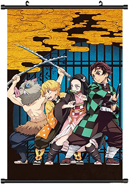 Demon Slayer Kimetsu no Yaiba Framed Poster with hooks 24x36 INCH