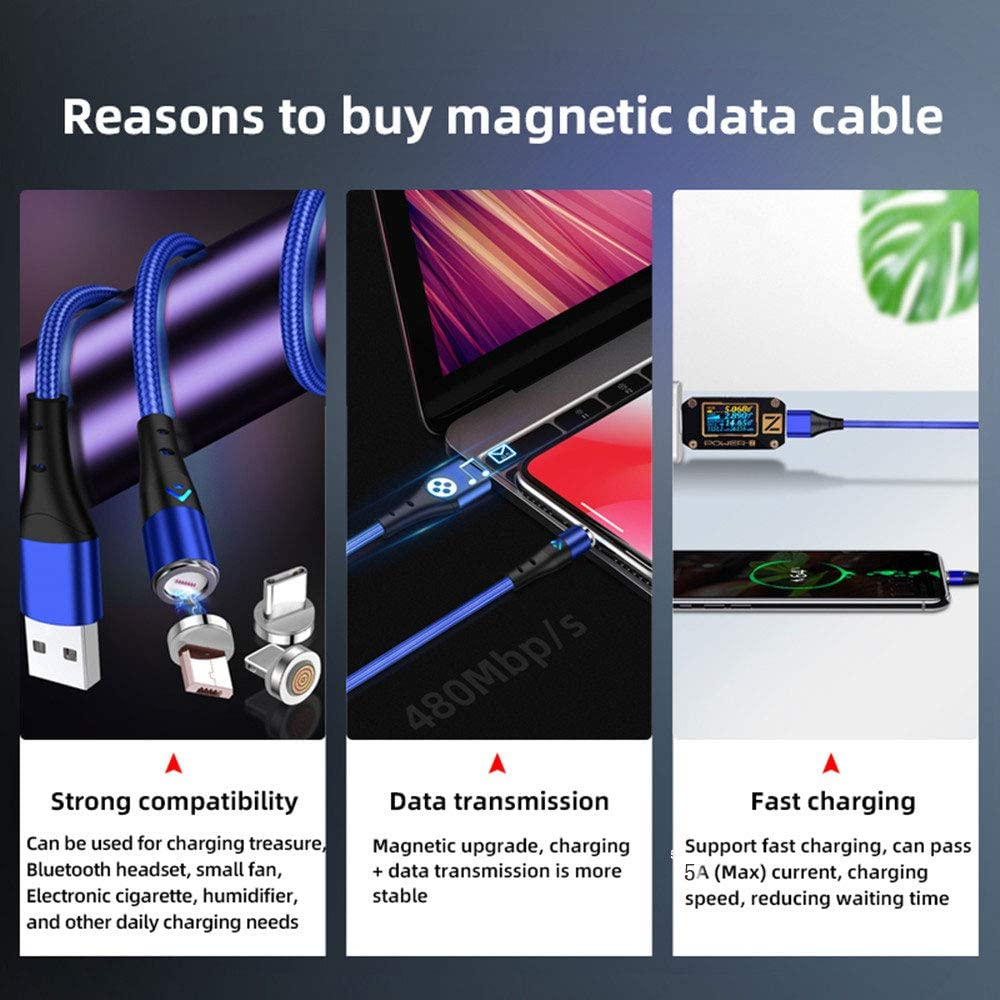 Type USB C and More Devices Kasuse 3 Pack Magnetic Charging Cable,Multi 3 in 1 Magnetic USB Cable Braided 3A Fast Charging Data Cord for Android Micro USB Blue