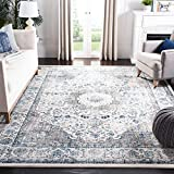 Safavieh Evoke Collection EVK220D Shabby Chic Oriental Medallion Non-Shedding Stain Resistant Living Room Bedroom Area Rug, 9' x 12', Ivory / Grey