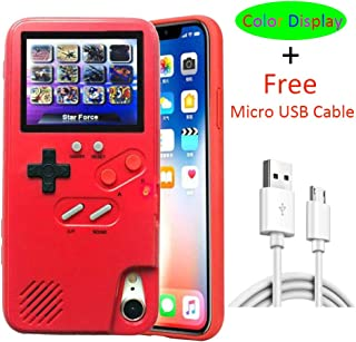 VOLMON Fashion iPhone 8 Case for Women Red, Shockproof iPhone 7 Case Cover with 3D Video Games, Color Display Retro Tetris Game Case, Pretty Girl Case Funny for iPhone 6/6S/7/8