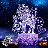 Luce Notturna Unicorno per Bambini, Lampada Illusione 3D 16 Colori Cambiano con Telecomand...