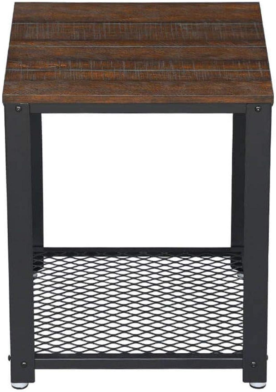 Benjara Iron Framed Nightstand with Wooden Top & Wire Mesh Open Shelf, Brown Black