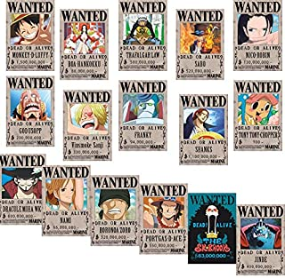 Bamboo's Grocery One Piece Wanted Posters 42cm×29cm, New Edition, Luffy 1.5 Billion, Set of 16Pcs