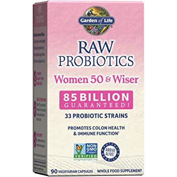 Garden of Life Raw Probiotics Women 50 & Wiser - Acidophilus Live Cultures, Probiotic-Created Vitamins, Minerals, Enzymes and Prebiotics, Gluten Free, 90 Vegetarian Capsules