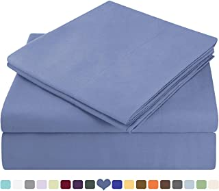 HOMEIDEAS Bed Sheets Set Extra Soft Brushed Microfiber 1800 Bedding Sheets - Deep Pocket, Hypoallergenic, Wrinkle & Fade Free - 4 Piece(King,Blue Hydrangea)
