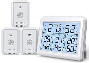 AMIR Termômetro interno e externo, 3 canais, monitor de umidade sem fio com 3 sensores, higrômetro digital com visor LCD, ...