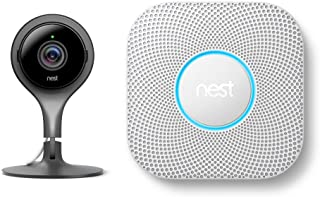 Nest Cam Indoor 1080p Security Camera with Protect Battery Smoke and Carbon Monoxide Detector