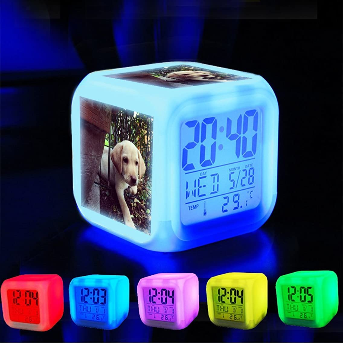 Alarm Clock 7 LED Color Changing Wake Up Bedroom with Data and Temperature Display (Changable Color) Customize the pattern-011. puppy labrador lab pets dogs picoftheday