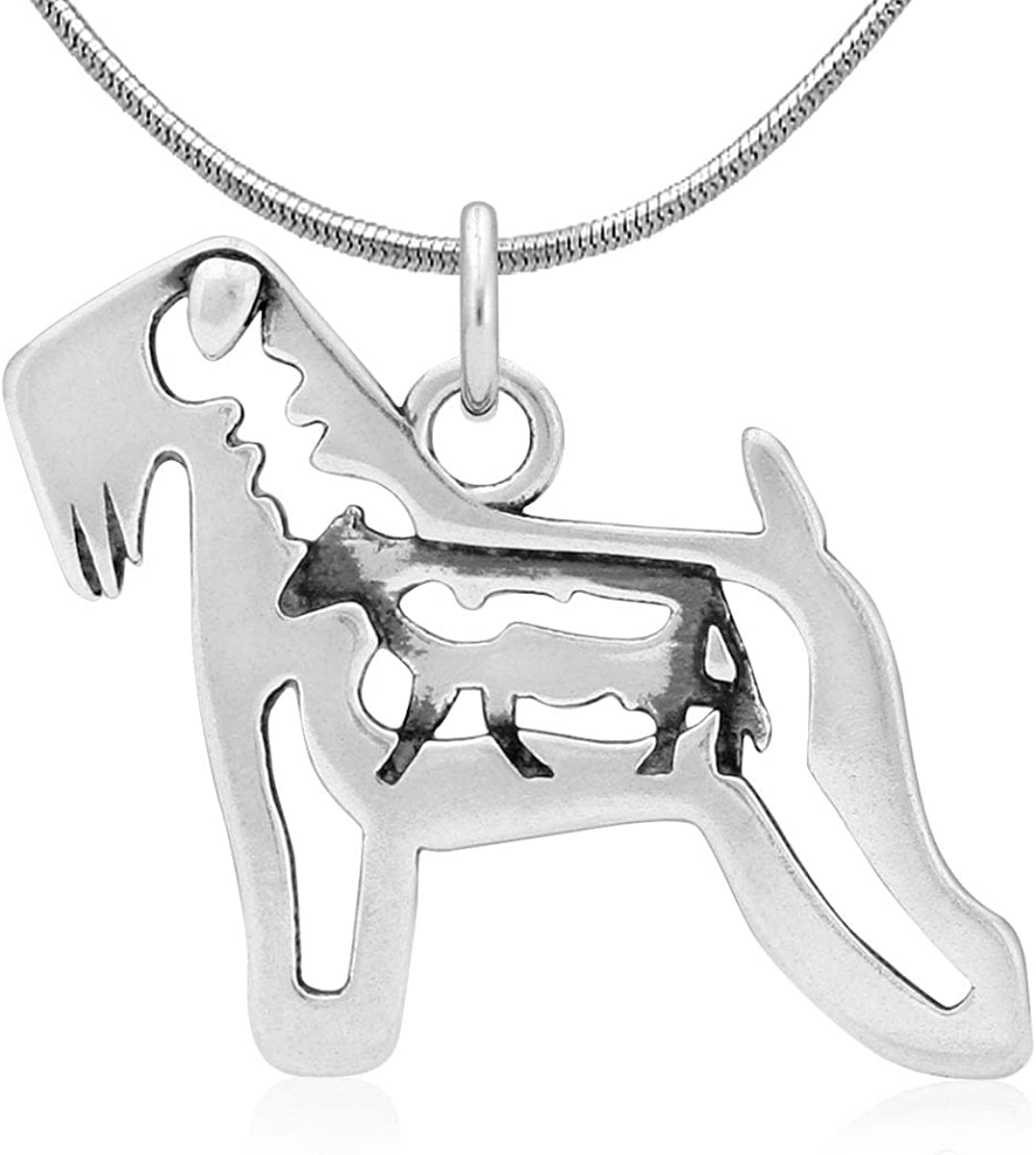 Sterling Silver Soft Coated Wheaten Terrier Pendant w//Cow in Body
