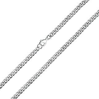Basic Strong Solid Silver Gold Tone Black Stainless Steel 4MM Wide Curb Cuban Mens Link Chain Necklace 18 20 24 30 Inch