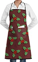 JIDAOSREN Seamless Christmas Pattern with Holly Berries Adjustable Bib Apron with Pockets for Women Men Chef,1 Pockets, Waterproof,Home Kitchen Durable Easy Care Apron Fashion Apron Man Women