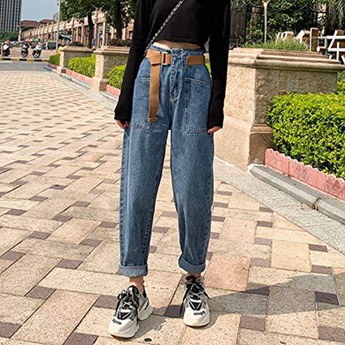 Jeans Mujer Streetwear Jeans Plisados Cintura Alta Vaqueros Sueltos Sueltos Pantalones De Novio Pantalones Casuales De Mezclilla para Mujer XXL Azul