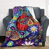 Coperta con farfalle colorate e farfalle, coperta ultra morbida, soffice e accogliente in flanella, per camera da letto, soggiorno, viaggio, 50 x 40 in