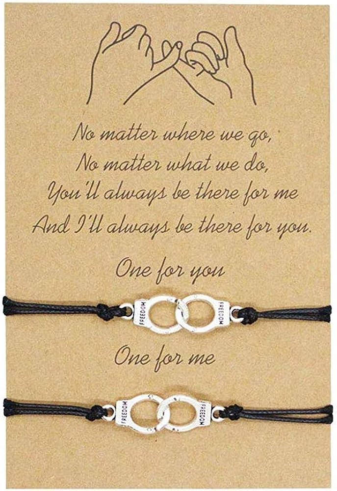 TASHA 2Pcs Adjustable Best Friendship Bracelets for Friend Lovers Family Sisters Couple Cord Bracelets Daily Wear Handmade Gifts