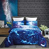 KINBEDY Tencel Cotton 3PC Blue Galaxy Comforter Sets Twin Size for Teen...