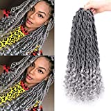GX Beaut Faux Locs Crochet Hair Ombre Grey New Goddess Locs Crochet Hair with Curly Endsy 20Inch 6 Packs 24 Strands Crochet Twist Braids Hair Extensions(Mixed Grey)