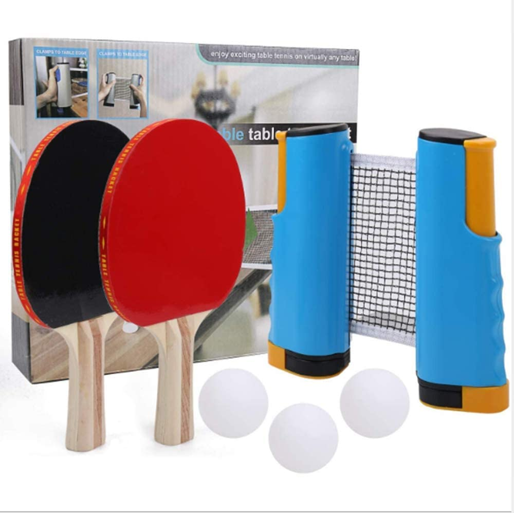 Blvcody All-in-ONE Portable Ping Pong Paddle Set with Retractabl