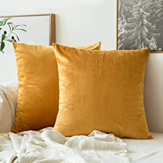MIULEE Pack of 2 Velvet Soft Soild Decorative Square Throw Pillow Covers Set Cushion Case for Sofa Bedroom Car 16 x 16 Inch 40 x 40 cm Gold