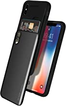 GOOSPERY iPhone Xs Case, iPhone X Case [Sliding Card Holder] Protective Dual Layer Bumper [TPU+PC] Cover with Card Slot Wallet for Apple iPhone Xs/X (Black) IPX-Sky-BLK