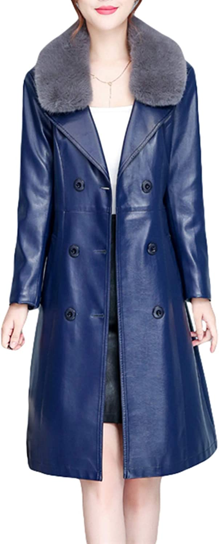 PENER Womens Suit Collar Warm Motorcycle Leather Jacket