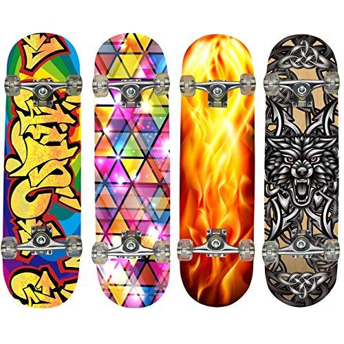 Hansson.Sports Top Skateboard Komplett Ahornholz Neue 4 Motive zur Wahl, Motiv: Inferno