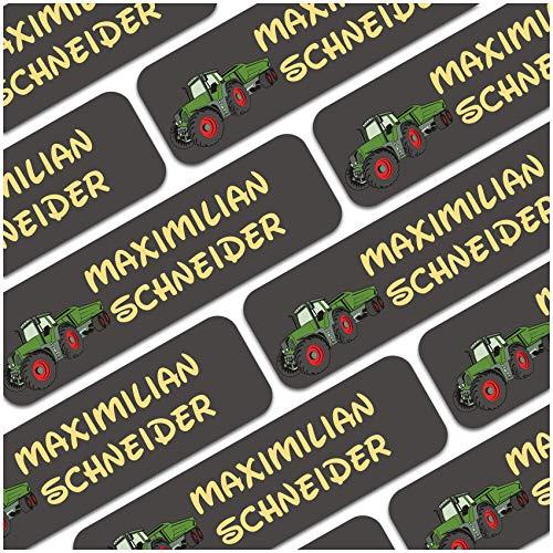 80 x Namensaufkleber Wunschname personalisiert je 3,5x1cm Aufkleber mit Kinder Name Beschriftung Schule Kindergarten Kleidung Sticker (Nr. 11 Traktor, Für Textilien)