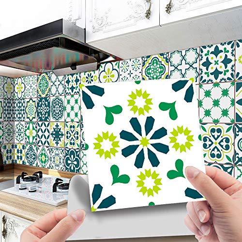 Hiser 24 Piezas Adhesivos Decorativos para Azulejos Pegatinas para Baldosas del Baño/Cocina Estilo marroquí Retro de Lujo Ligero Resistente al Agua Pegatina de Pared (Verde,20x20cm)