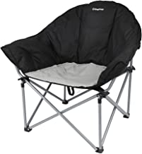 KingCamp Oversized Camping Club Chair Moon Saucer Sofa Chair Padded Folding Heavy Duty Deluxe Stable Carry Bag Included, 300-lb. Capacity