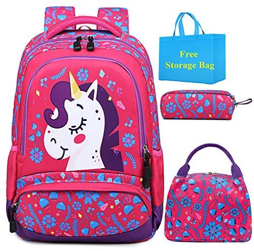 Mochila Escolar Niña Unicornio Sets de Mochila Escuela Primaria Bolsa de Libros Infantil Adolescentes,3 en 1 Backpack Set con Almuerzo Bolso y Estuche RosaRojo