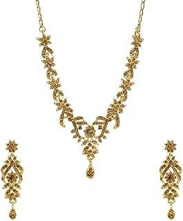 Efulgenz Crystal Austrian Diamond Choker Necklace Earrings Wedding Indian Jewelry Set for Women Girls