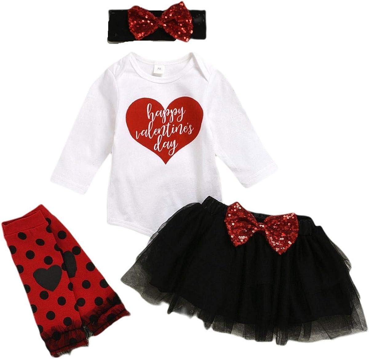 Superlatite Baby Girl Valentine's Day Outfits Romper Bodysuit Heart +Tutu Sk Ranking TOP10
