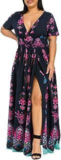 Vestido Largo de Mujer de Talla Grande para Mujer con Estampado de Mariposa con Cuello en V y Manga Corta con cinturón Dividido
