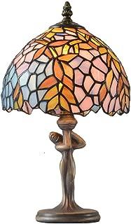 Vintage Art Deco Leaf Stained Glass Fairy Lady Figurine Desk Lamp Table Light Metal Base Bronze