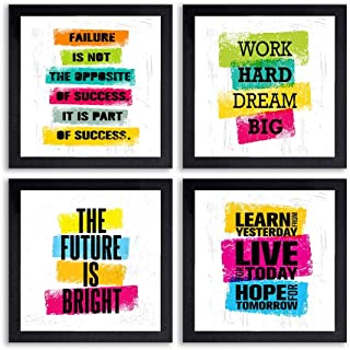 PnF® Set of 4 Motivational QUOTES-026-(28x28inch,Synthetic,Multicolour)