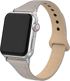 Bandiction Leather Band Compatible with Apple Watch Band 38mm 40mm, Genuine Leather Slim Strap for iWatch Apple Watch Series 4 Series 3 Series 2 Series 1, Sports & Edition Women Men (Gray)