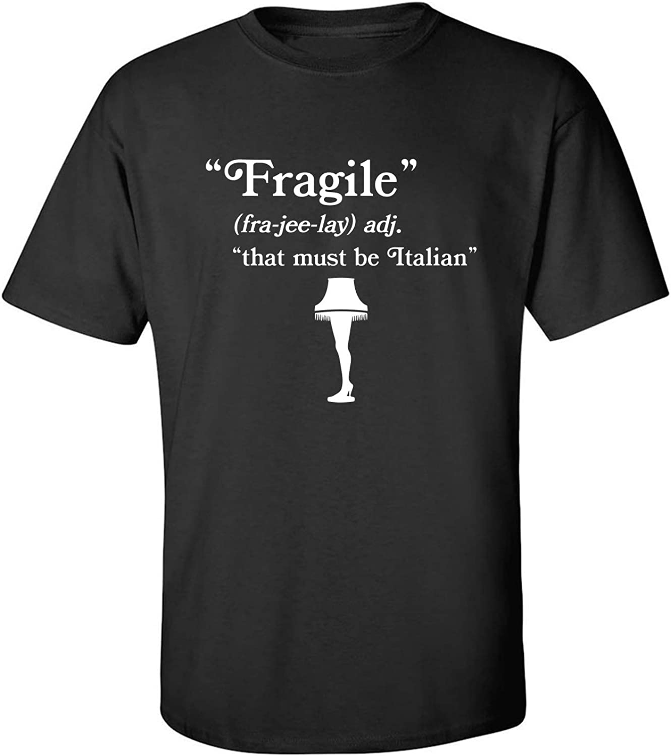Fragile That Must Be Italian Adult T-Shirt in Black - XXXX-Large