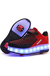 910d029a9 Ehauuo Unisex Roller Shoes Kids Sparkling Wheels Shoes Girls Light up  Roller Skates Sneakers Boys Rechargeable