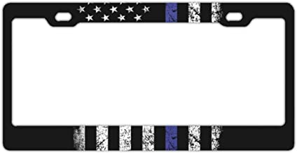 EXMENI Thin Blue Line Flag License Plate Covers Chrome License Plate Frame Tag Holder 2 Holes