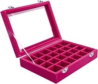 Pasutewel Velvet Glass Ring Jewellery Display Storage Box Jewelry Holder Storage Organizer Stand (Pink-(24 Grids))