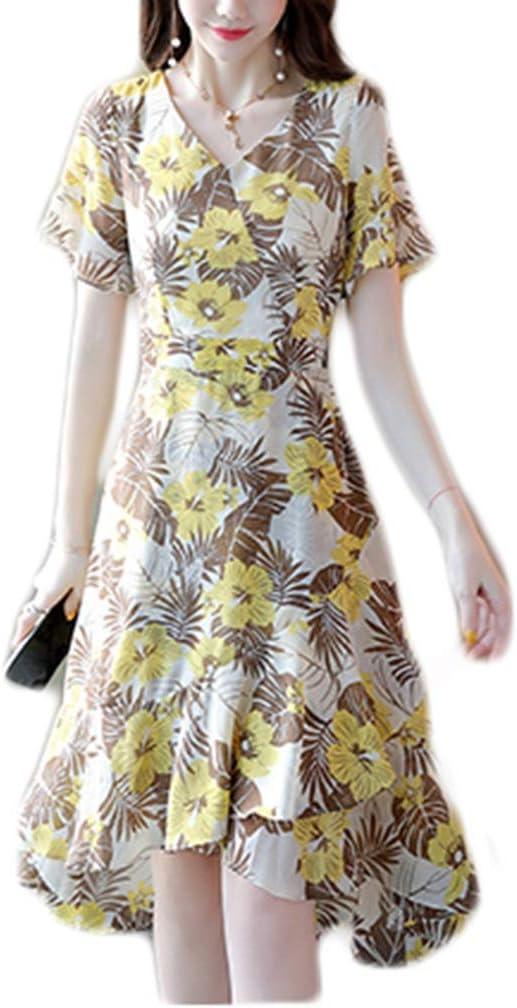 Dongjiguang Dress Dress Female V-Neck Women's Waist Slimming Skirt Female Tide 4 Colors 4 Sizes (Color : A, Size : XXL)