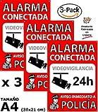 Pack o Lote de 3 Carteles disuasorios A4 Interior/Exterior, Placa disuasoria PVC Flexible, Cartel Alarma conectada,...