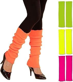 Amakando Beinstulpen neonfarben leuchtende Stulpen 80er orange krelle Legwarmer schrille Aerobic Stutzen Fitness Outfit Accessoire 80er-Outfit Zubehör